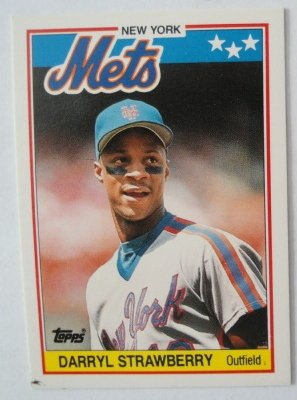 1988 Topps Mini Baseball Card, Darryl Strawberry, NY Mets