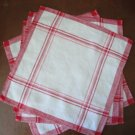 Vintage Red Striped Linen Napkins, Four