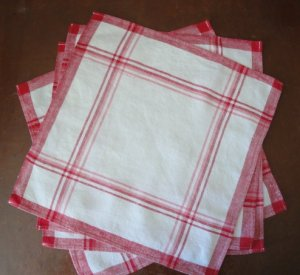 Vintage Red Striped Linen Napkins, Four