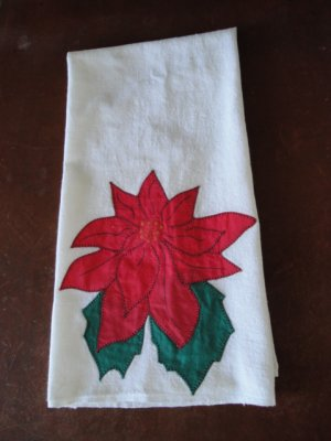 Vintage Poinsetta Tea Towel