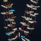 Zuni 5 Strand Fetish Necklace w/ Turquoise Bird