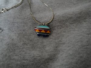 Small Zuni Inlaid Multi-Stone Bear Pendant Necklace