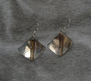 Navajo Sterling Pierced Earrings w/ Bear Design and Gold Band