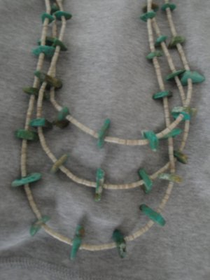 Navajo 3 Strand Turquoise and Heishi Necklace