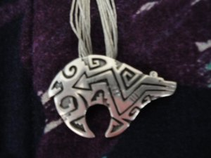 Navajo Silver Bear on Liquid Silver Necklace w/Matching Earrings