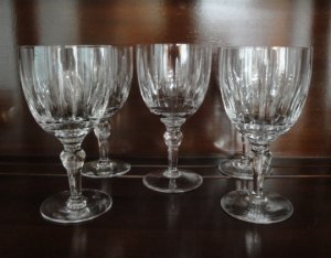 Crystal Wine or Water Goblet, Set of 5