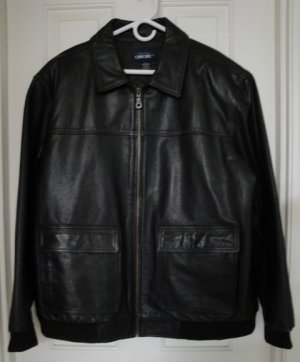 Men's Brown Leather Bomber Jacket, Size Large
