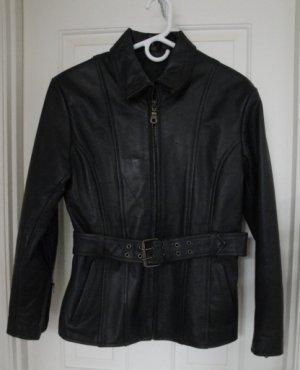Women's Black Leather Motorcycle Bikers Jacket, Size 6