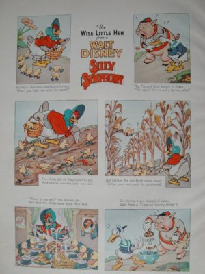 Walt Disney The Wise Little Hen Silly Symphony Print from Book