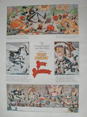 Walt Disney The Grasshopper & The Ants Silly Symphony Print from Book