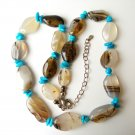 Sleeping Beauty Turquoise & Agate Necklace Velvet Box