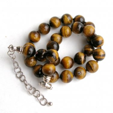Tiger Eye & Sterling Necklace 12mm Orbs Individually Knotted