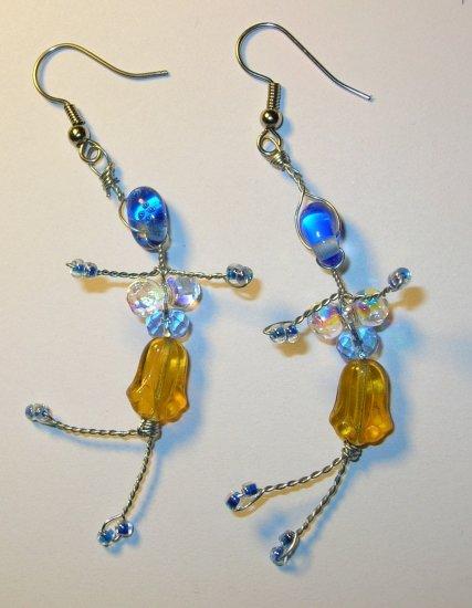 Dancing bead figure women earrings