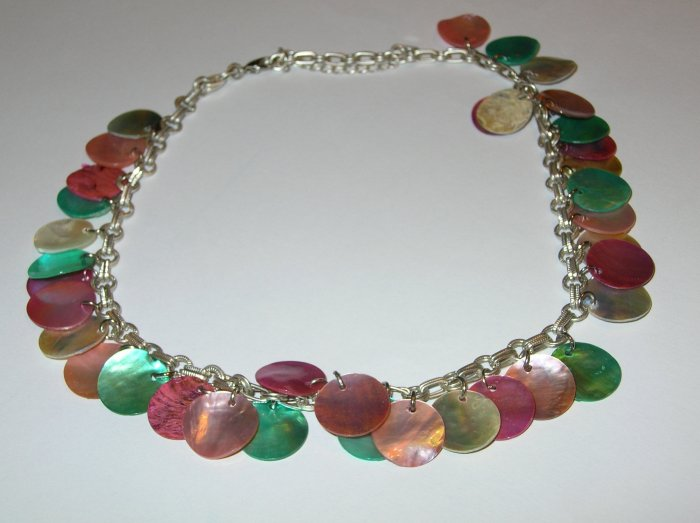 Reversible colourful shell necklace on silver chain