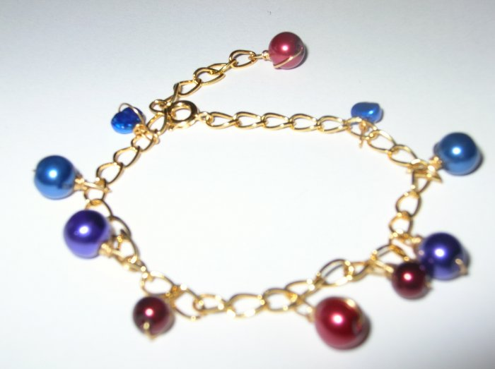 Gold Plated chain and coloured pearl bracelet