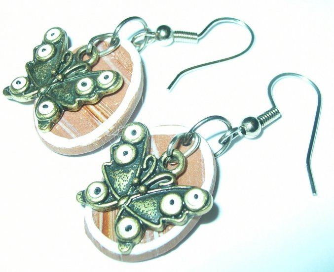 Butterflies against wood earrings