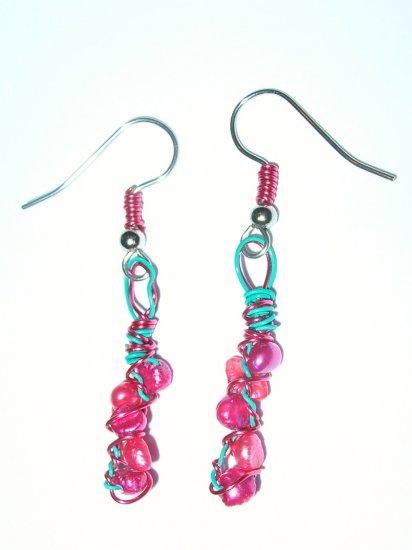 Pearl and aqua wire earrings