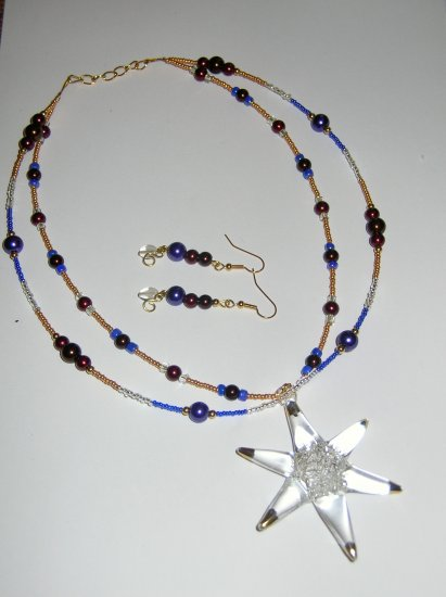 Purple Glass Star Earring and Necklace set