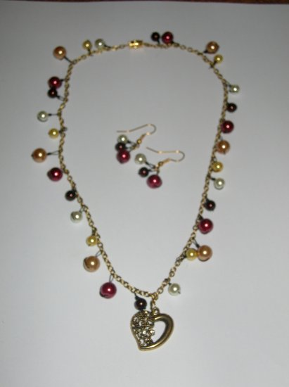 Heart and Pearl earrings and necklace