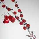 Red Anchor Heart and Shell necklace