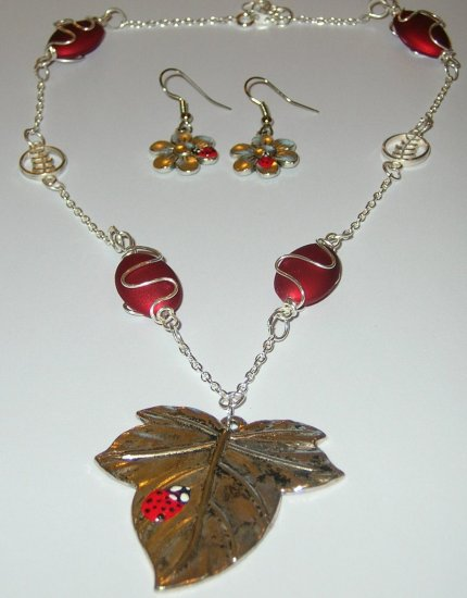 Red Ladybird or Ladybug necklace with earrings