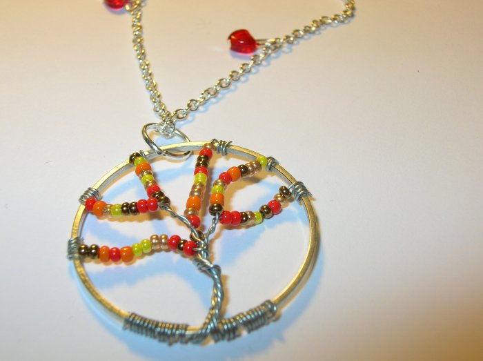 Tree on Fire on silver necklace chain