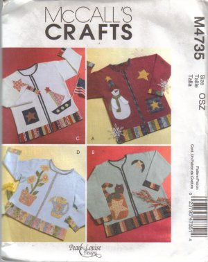 M4735 McCalls Crafts-Seasonal Appliques for Sweatshirts