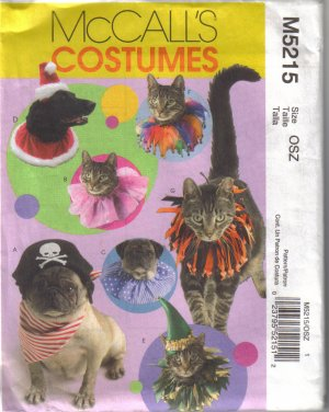 M5215 McCalls Costumes-Pet Hats & Collars