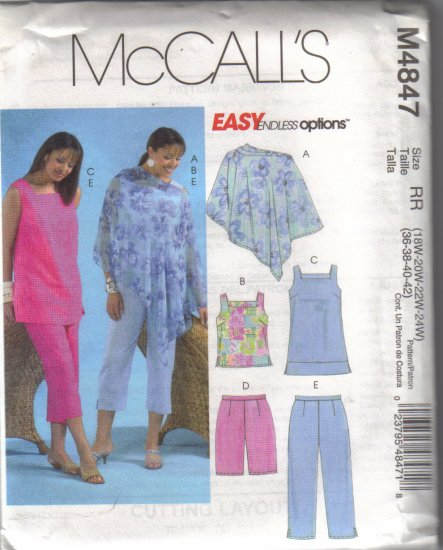 M4847 McCalls Womens Poncho,Top,Tunic,Shorts & Capri Pants