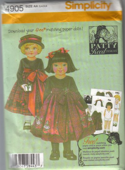 4905 Simplicity Patty Reed Childs Dresses