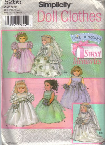 """5266 Simplicity Sweet Memories Doll Clothes 18"""" Dolls"""