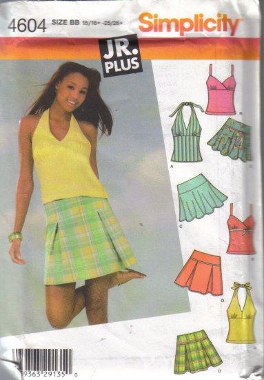 4604 Simplicity Jr. Plus Mini Skirts & Tops