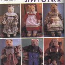 7649 Simplicity Abbie's Jiffy 6 Pack Stuffed Bear and Clothes