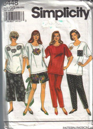 8448 Simplicity Womens Split Skirt,Pants,Top 26W-32W