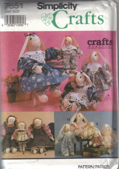 7651 Simplicity Crafts-Clothes Purchased Doll or Rabbit