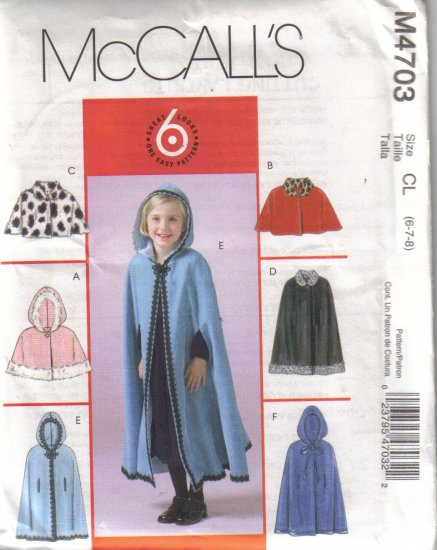 M4703 McCalls Child & Girls Lined Caplets & Capes 2-8