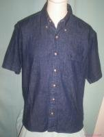 Mens Eddie Bauer Dark Blue Denium Shirt-Medium