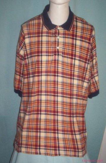 Mens Dockers Red-Yellow & Blue Plaid Long Polo Shirt-XL
