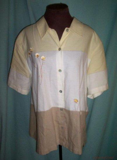 Womens Plus Lemon-Grass Button Front Shirt- 22