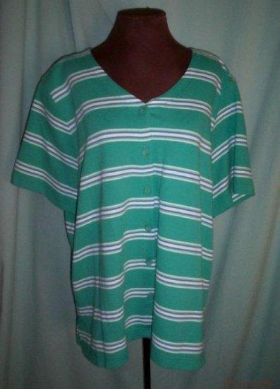 Womens Alfred Dunner Button Front Short Sleeve Shirt-2X