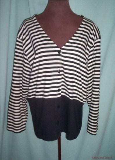 Womens C.P Daniels Black & White Shirt / Cardigan-2X