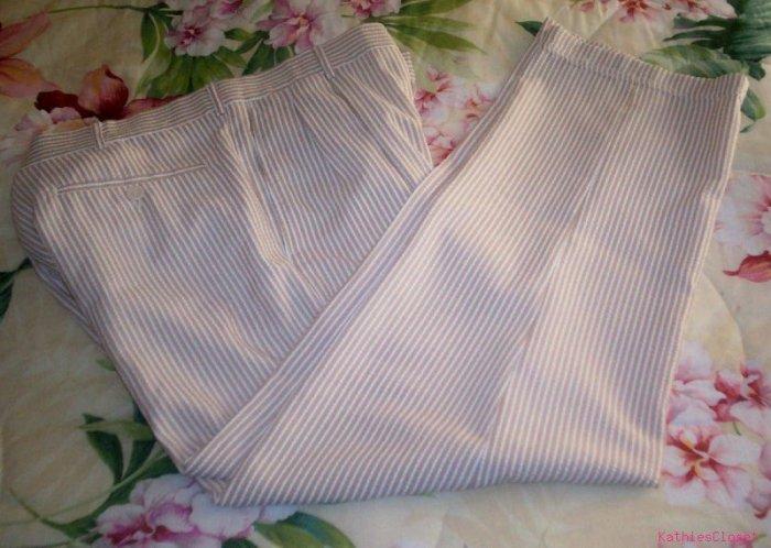 Mens Vintage Golf~Disco Lt Brown Pin-Striped Pants 34 / 27
