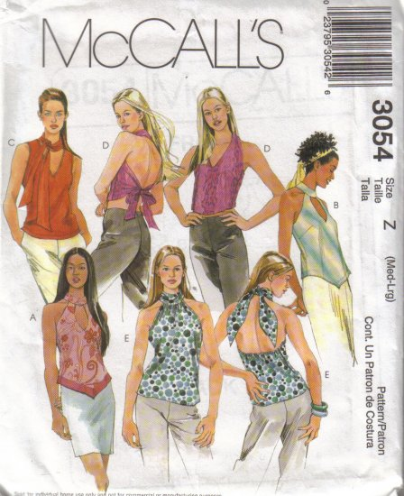 3054 McCall's Misses Halter & Tank Tops M-L