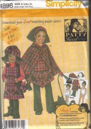 4898 Simplicity Fleece Pants-Jumper-Poncho-Hat-Purse S-XL