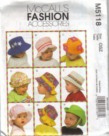 M5118 McCalls Fashion Accessories-Infants Hats