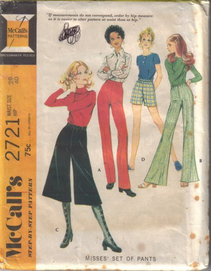 Vintage 1971 McCalls 2721 Pants-Midi Pants & Shorts