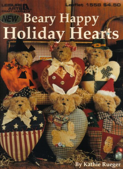 1994 Leisure Arts Beary Happy Holiday Hearts