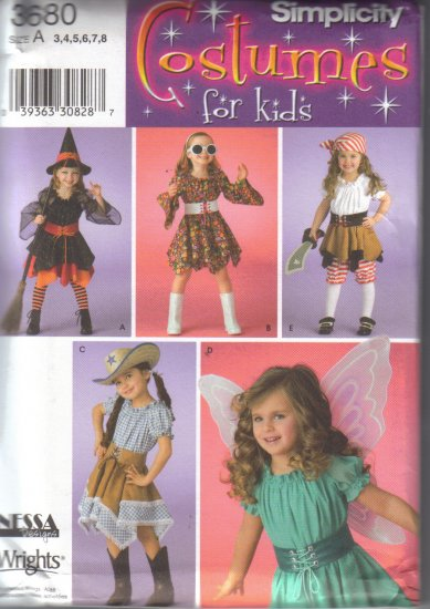 3680 Simplicity Costumes For Kids Sizes 3-8