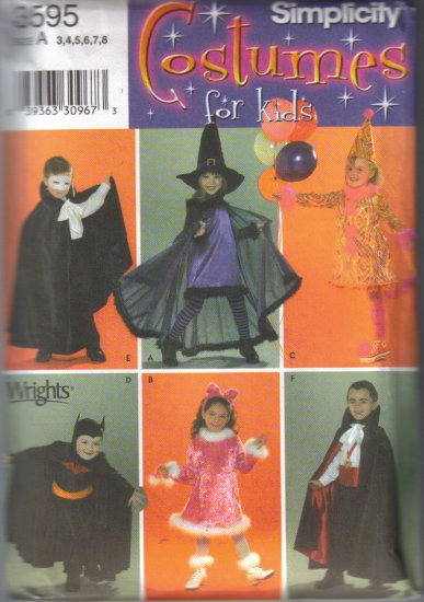 3595 Simplicity Costumes For Kids-Boys & Girls 3-8