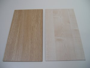 "Melamine Plastic MDF Board - Light Oak / Maple Woodgrain Pattern - 3 1/16""  -  8mm Thick"